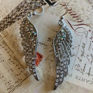 NWT Angel's Wings Silver Crystals